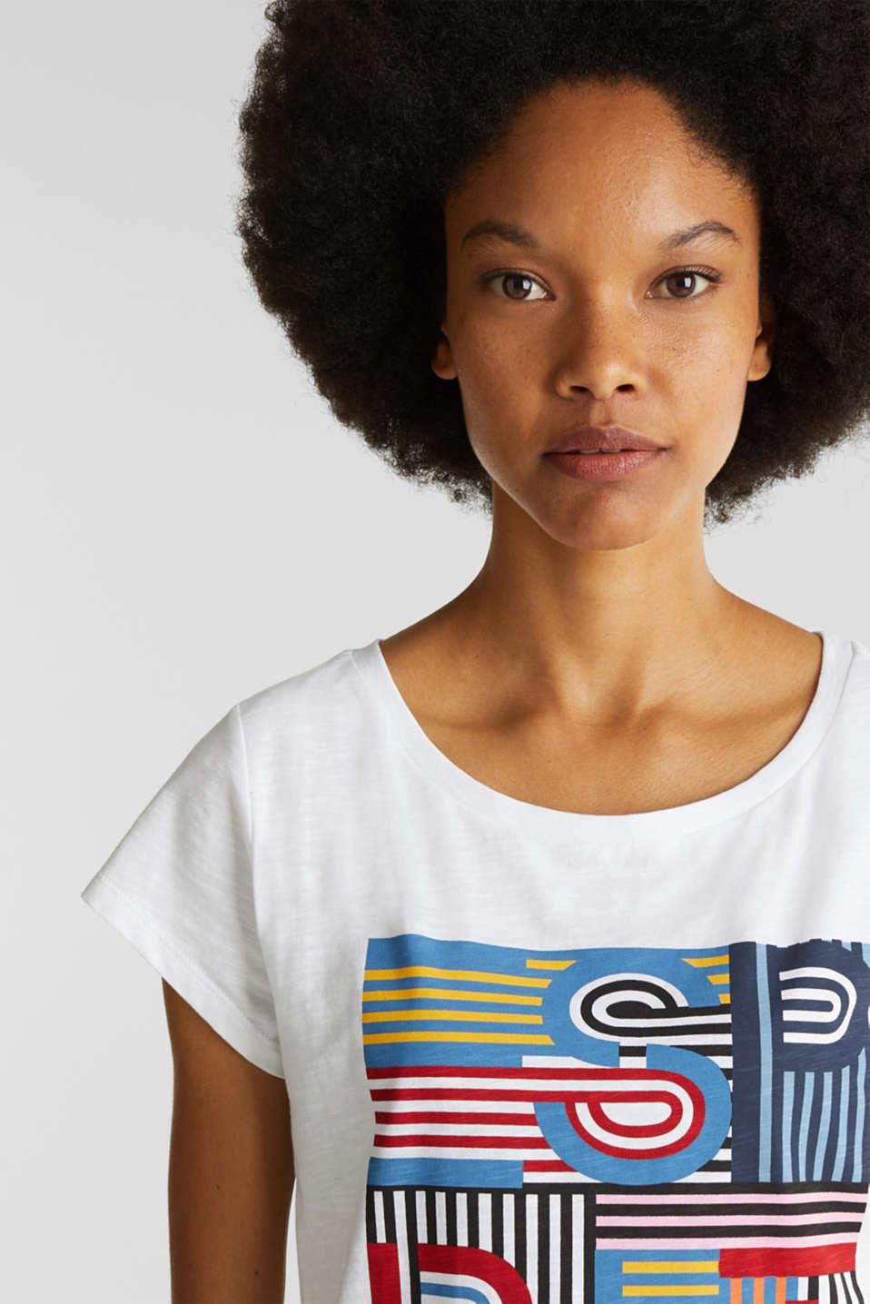 Slub T-shirt with print, 100% cotton, WHITE, detail image number 5