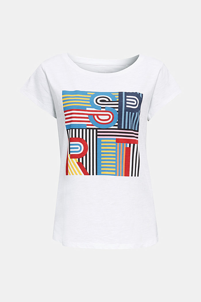 Slub T-shirt with print, 100% cotton, WHITE, detail image number 6