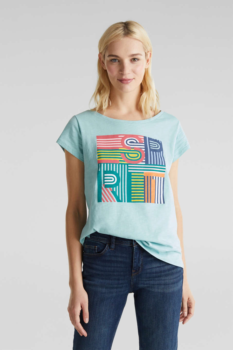 Slub T-shirt with print, 100% cotton, LIGHT AQUA GREEN, detail image number 0