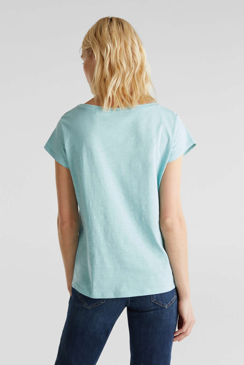 Slub T-shirt with print, 100% cotton, LIGHT AQUA GREEN, detail image number 3