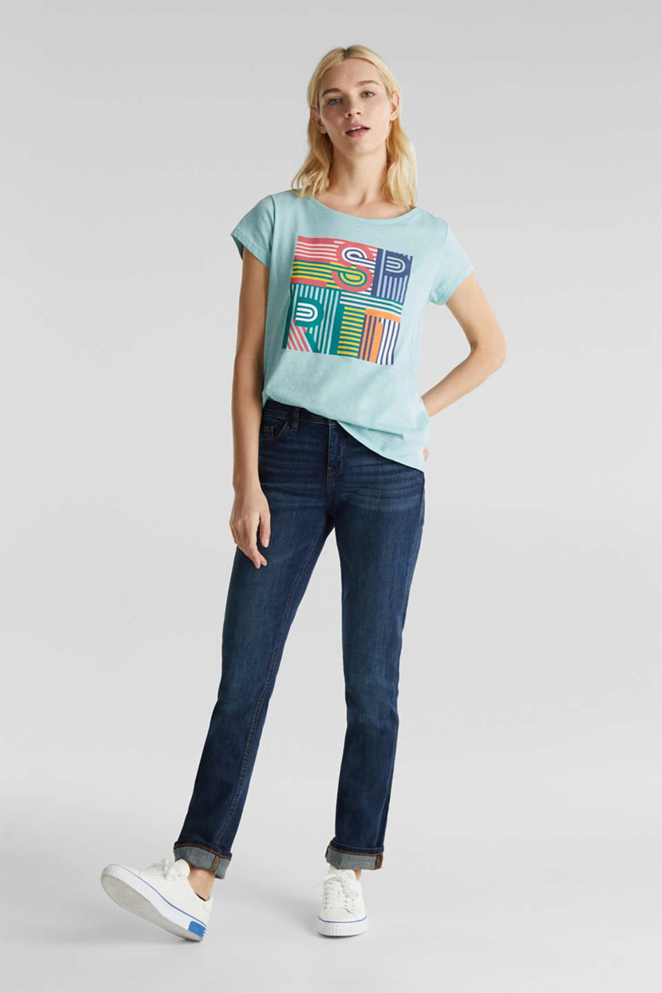 Slub T-shirt with print, 100% cotton, LIGHT AQUA GREEN, detail