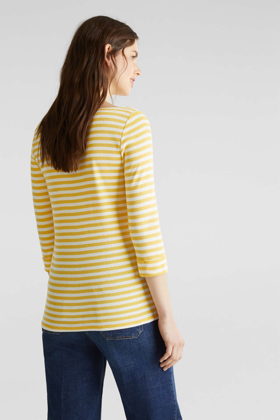 Top with a bateau neckline, 100% cotton, YELLOW 3, detail image number 3