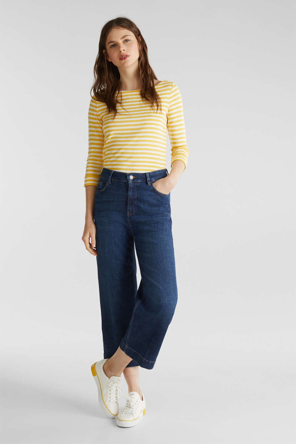 Top with a bateau neckline, 100% cotton, YELLOW 3, detail image number 1