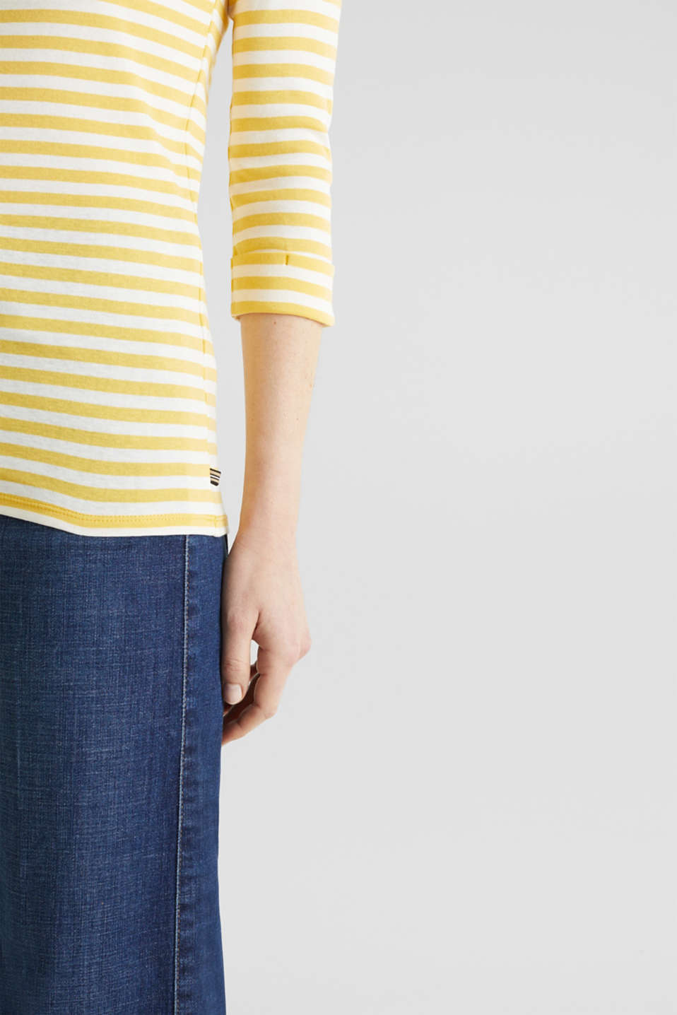 Top with a bateau neckline, 100% cotton, YELLOW 3, detail image number 5