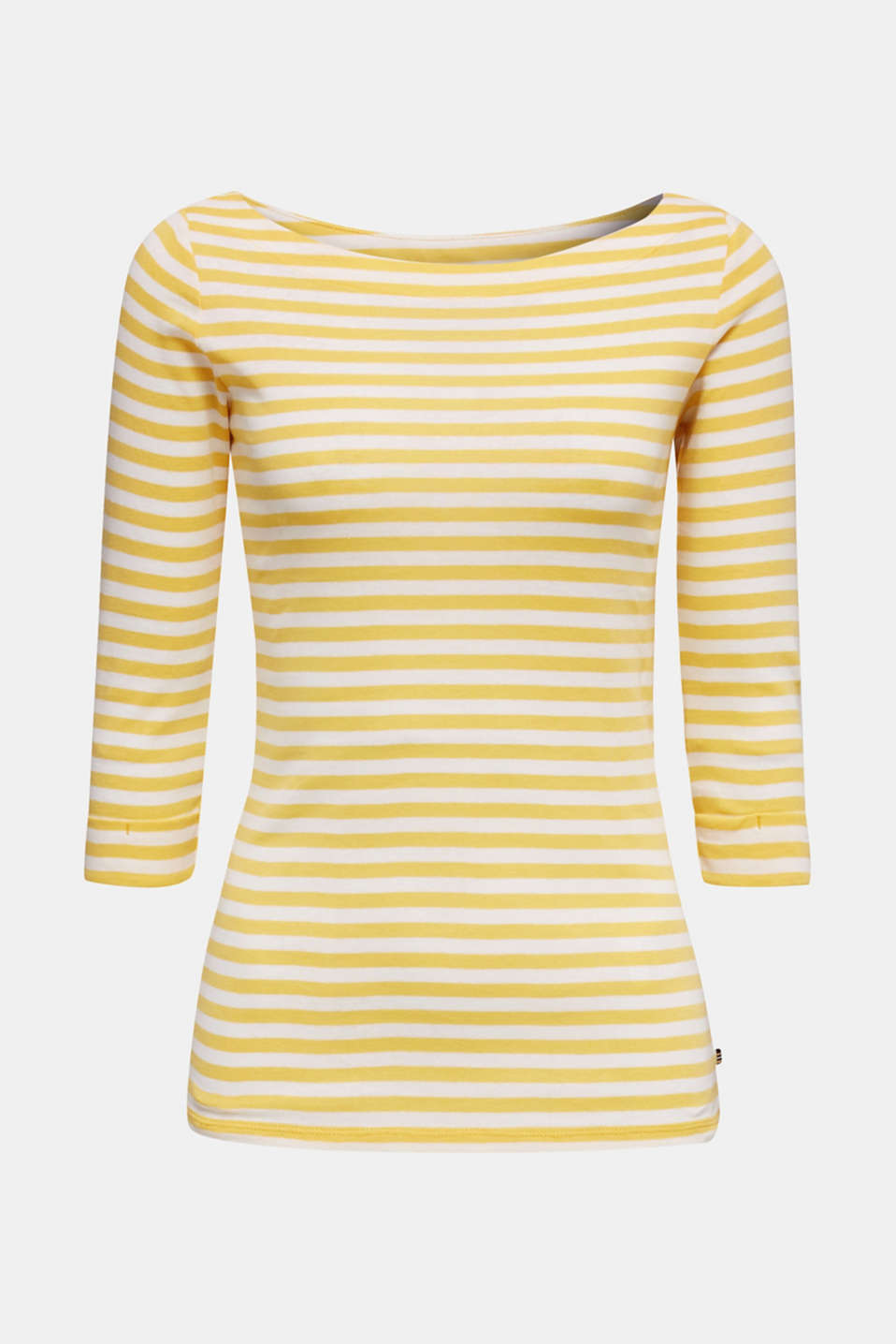 Top with a bateau neckline, 100% cotton, YELLOW 3, detail image number 7