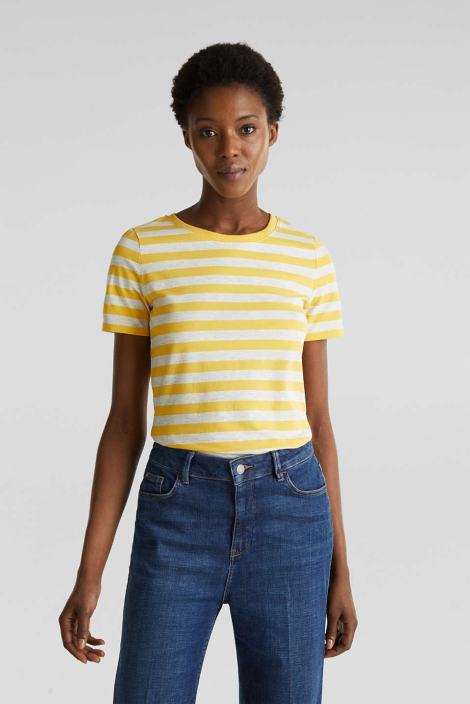 Stretch T-shirt with a stripe pattern, YELLOW 3, detail image number 0