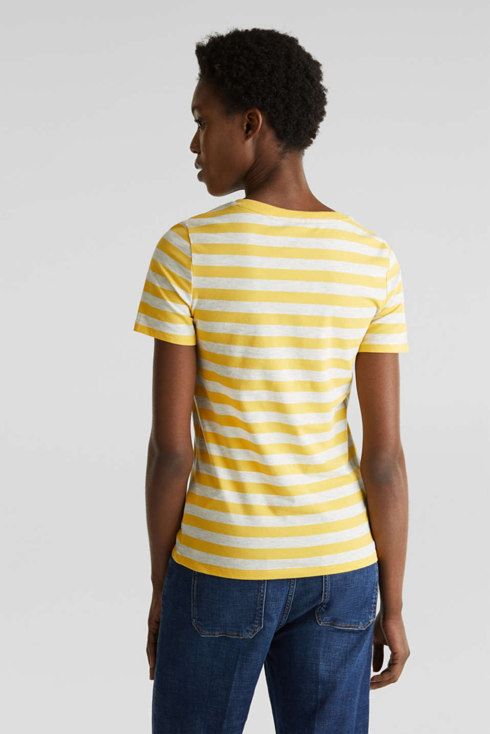 Stretch T-shirt with a stripe pattern, YELLOW 3, detail image number 3