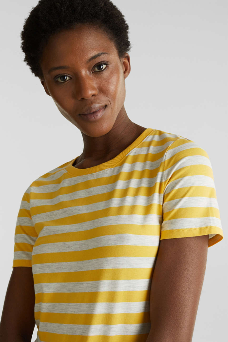 Stretch T-shirt with a stripe pattern, YELLOW 3, detail image number 2