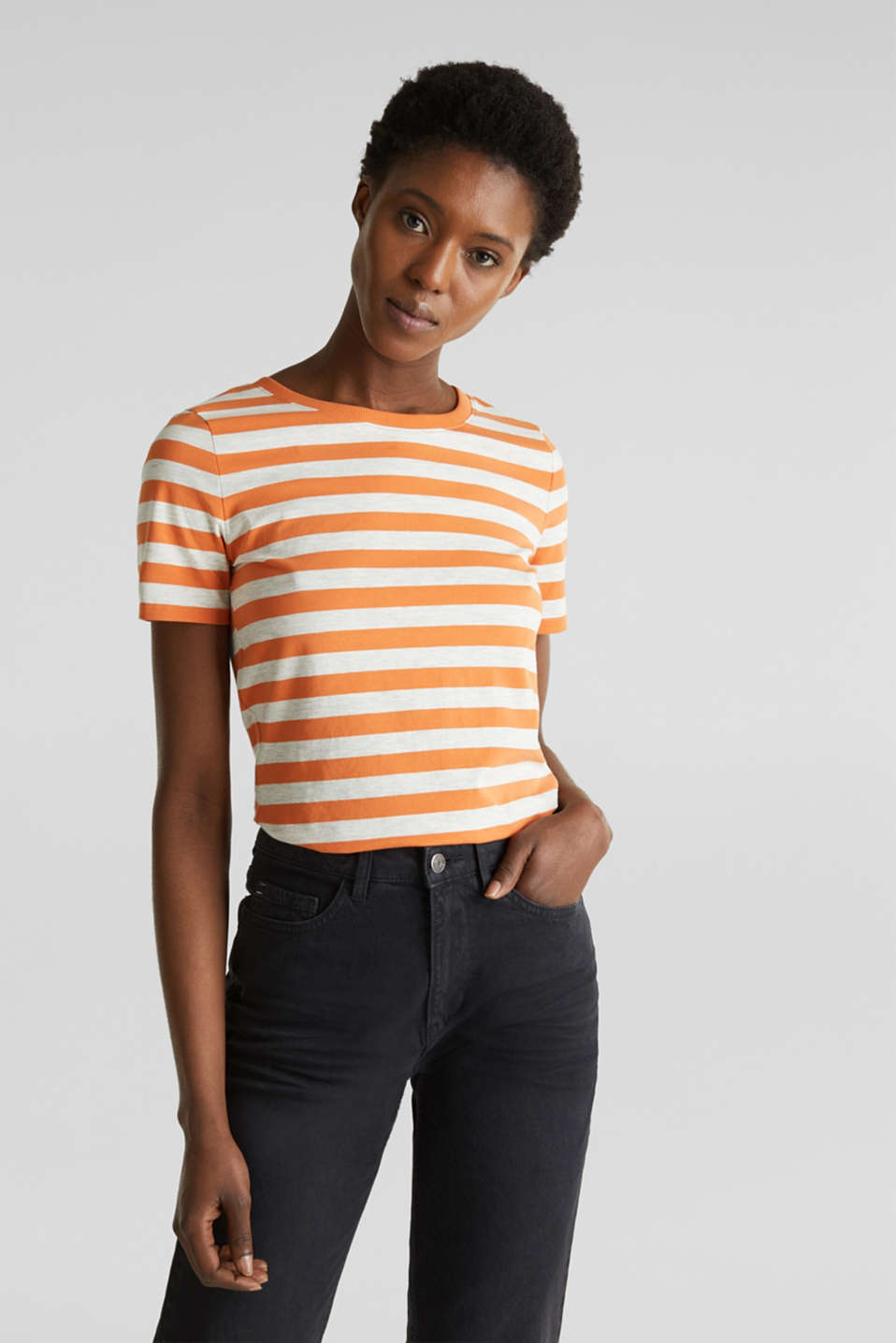 Esprit - Stretch T-shirt with a stripe pattern