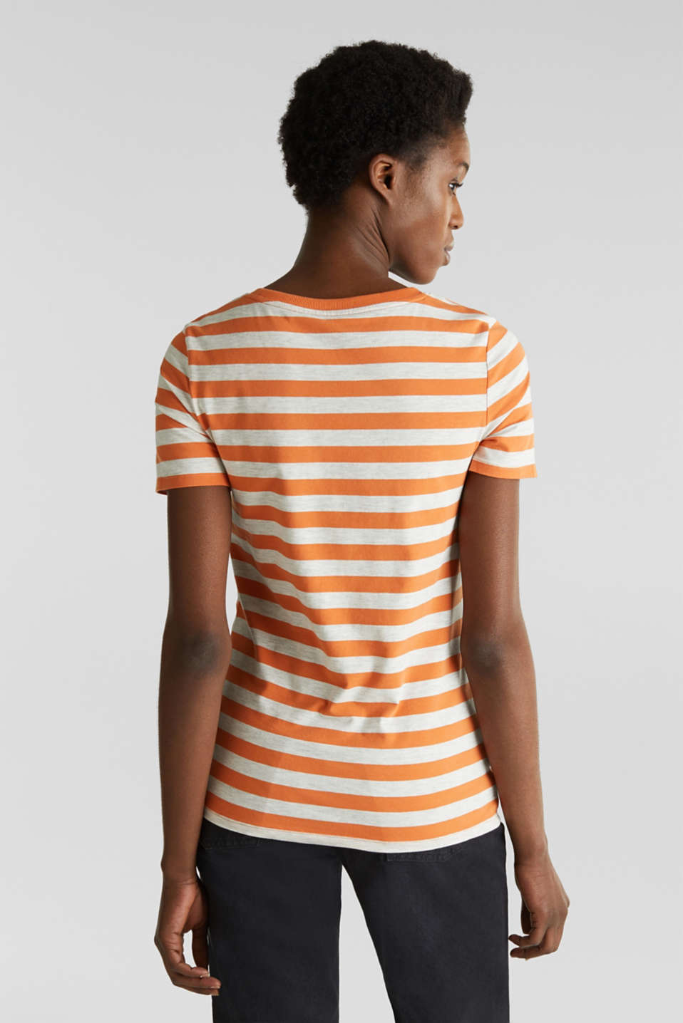 Stretch T-shirt with a stripe pattern, RUST ORANGE 4, detail image number 3