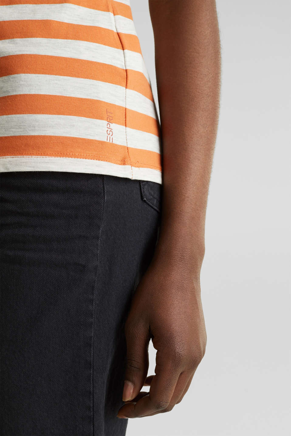 Stretch T-shirt with a stripe pattern, RUST ORANGE 4, detail image number 5