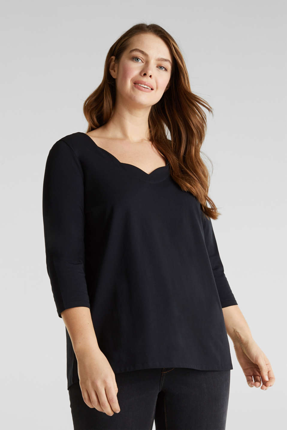 CURVY top with wavy details, BLACK, detail image number 0