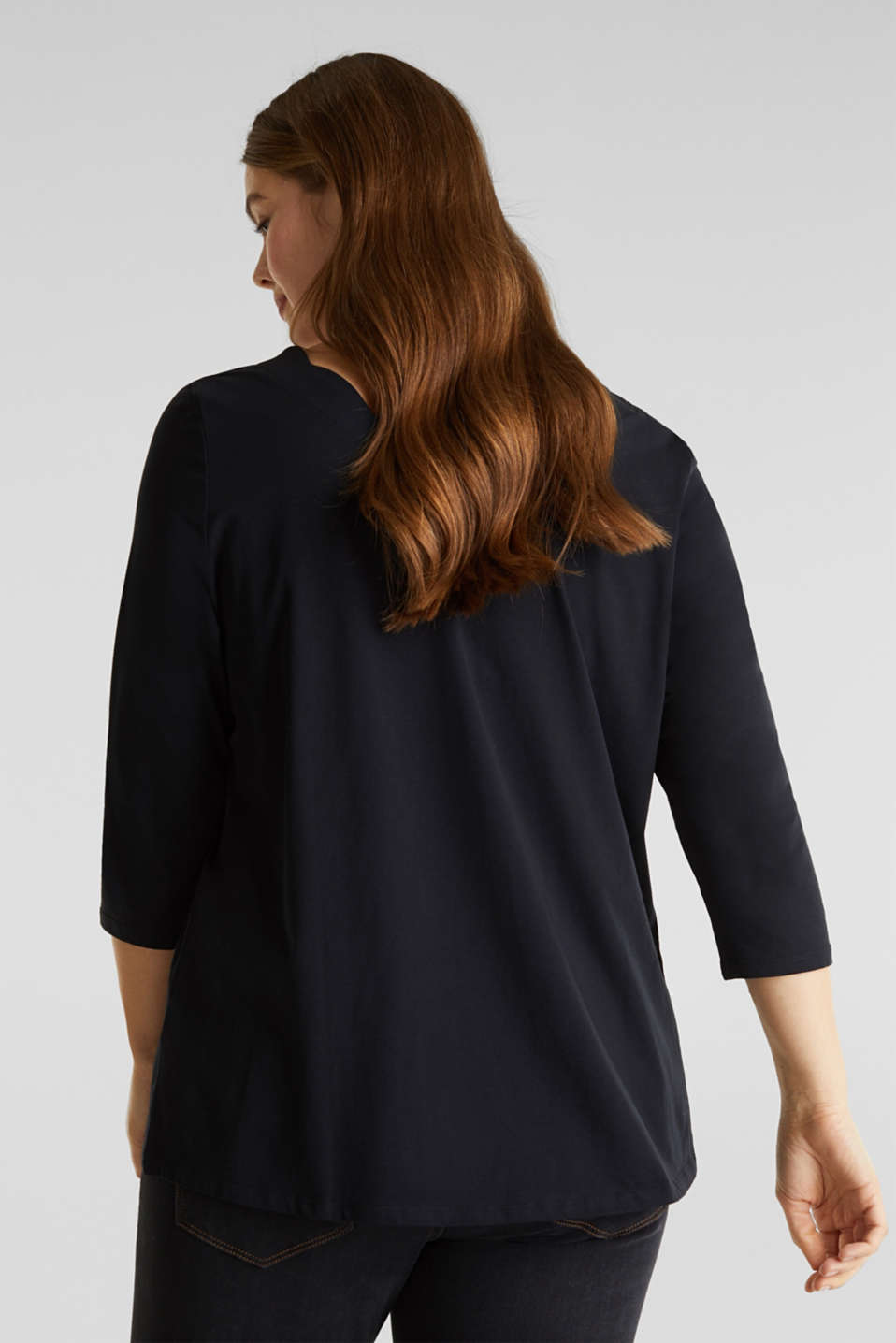 CURVY top with wavy details, BLACK, detail image number 3