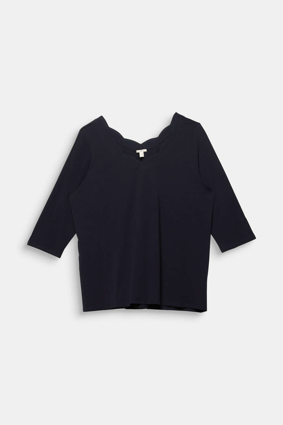 CURVY top with wavy details, BLACK, detail image number 5