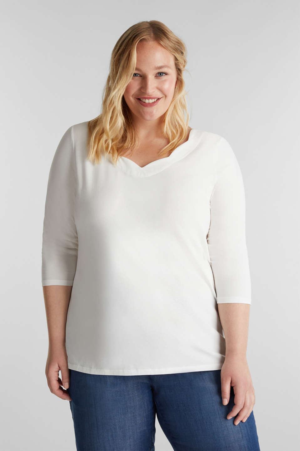 CURVY top with wavy details, OFF WHITE, detail image number 0