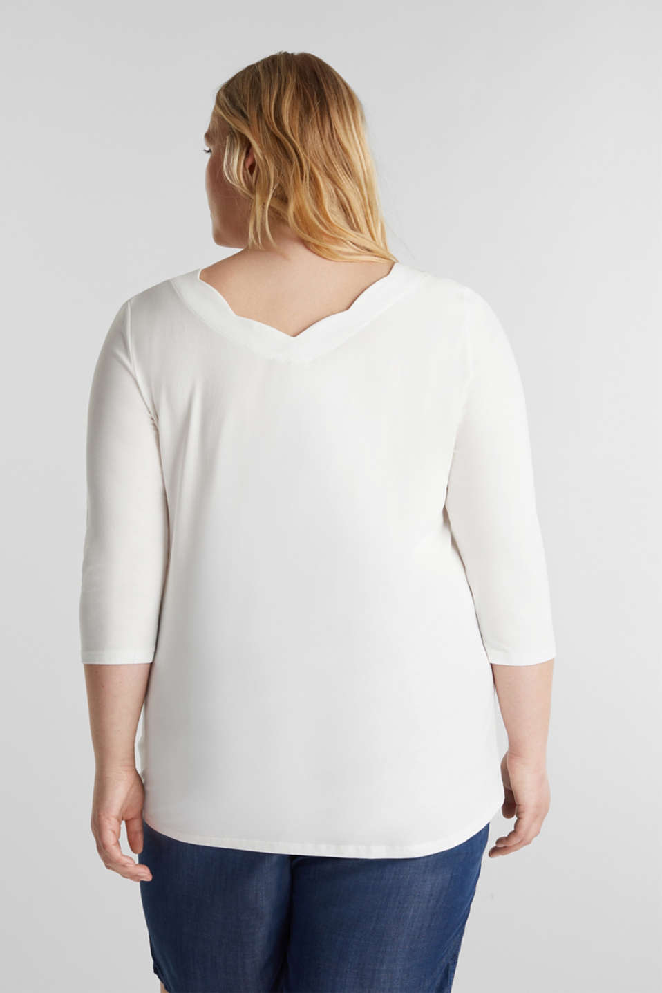 CURVY top with wavy details, OFF WHITE, detail image number 3