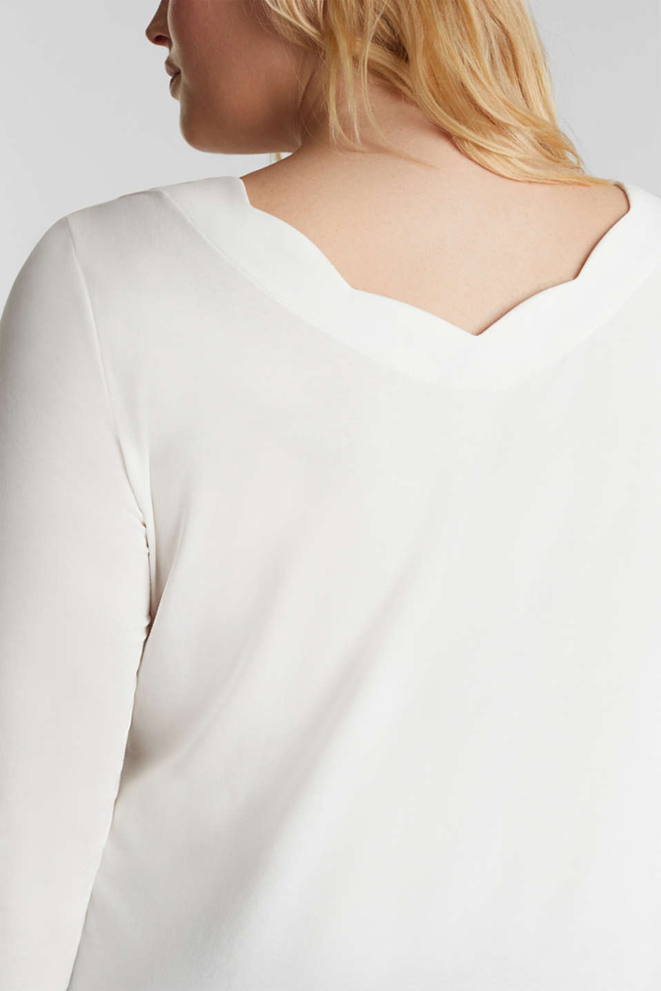 CURVY top with wavy details, OFF WHITE, detail image number 2