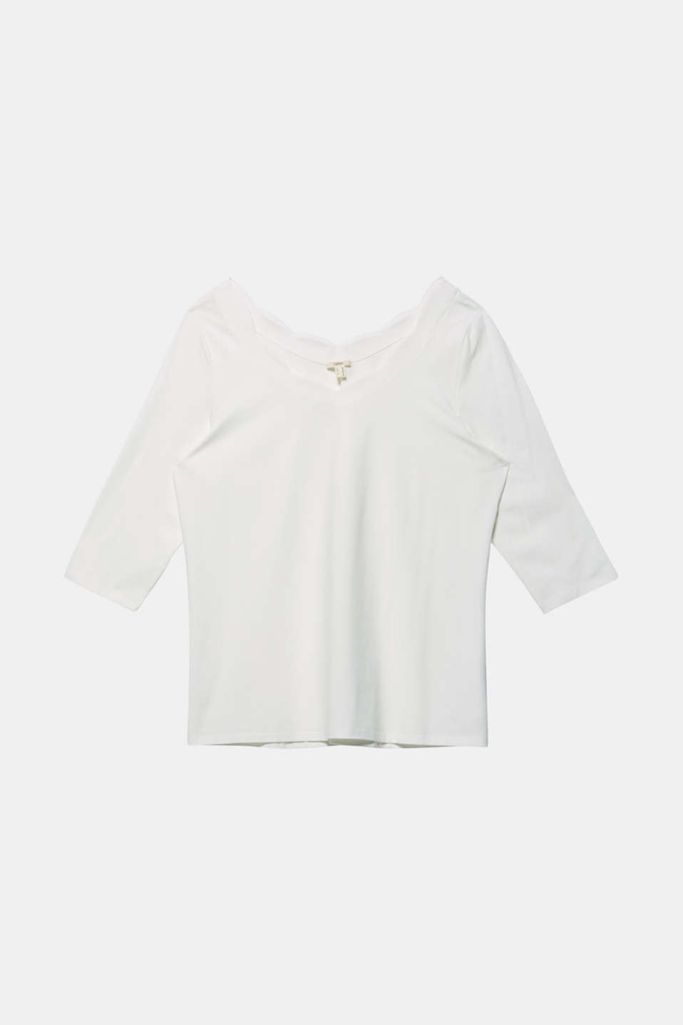CURVY top with wavy details, OFF WHITE, detail image number 5
