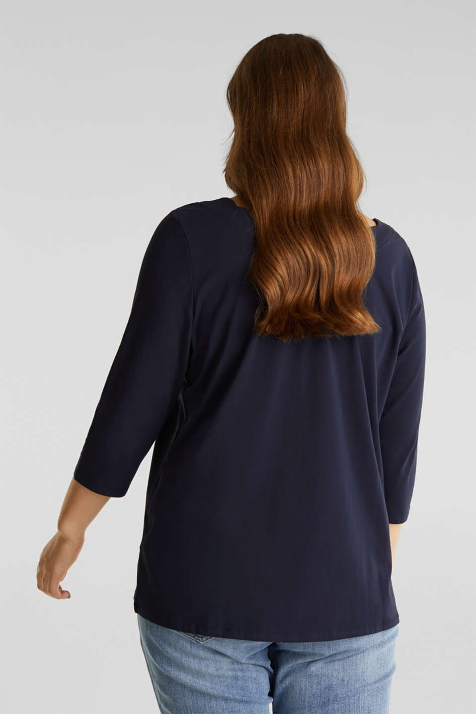CURVY top with wavy details, NAVY, detail image number 3
