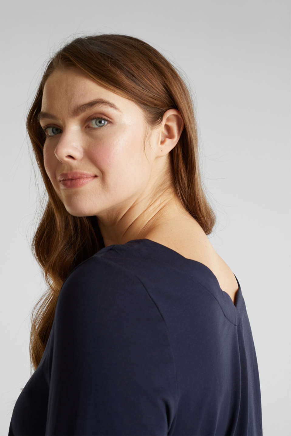 CURVY top with wavy details, NAVY, detail image number 2
