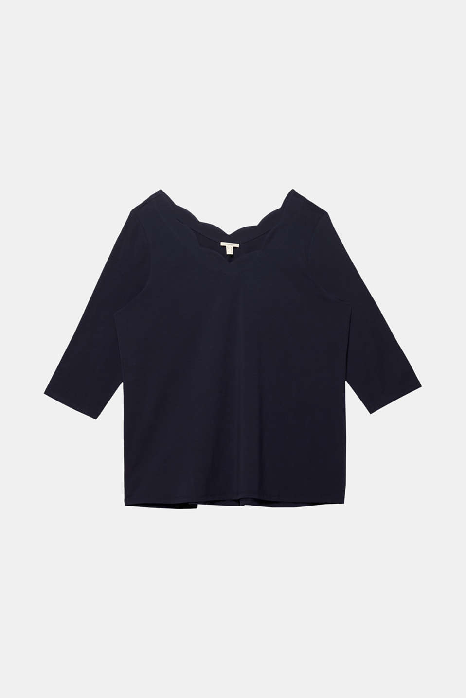 CURVY top with wavy details, NAVY, detail image number 5