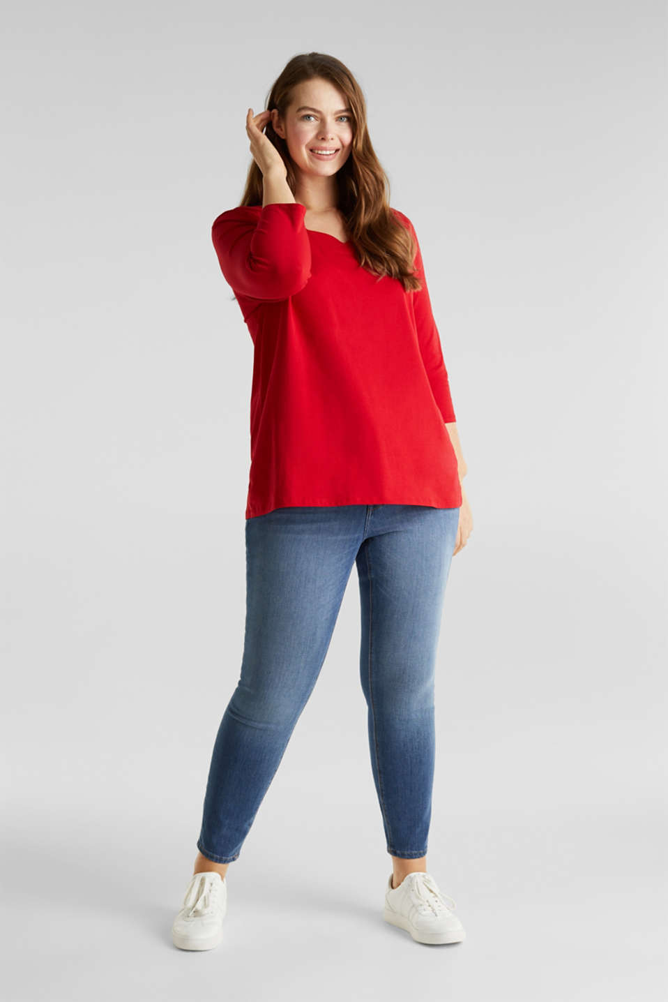 CURVY top with wavy details, DARK RED, detail image number 1