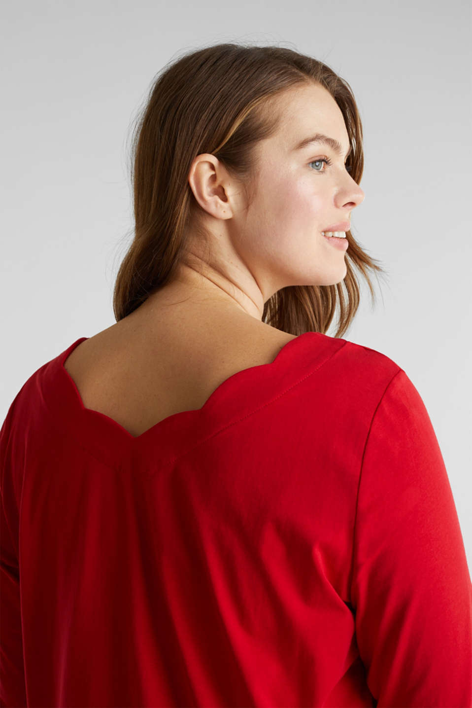 CURVY top with wavy details, DARK RED, detail image number 2