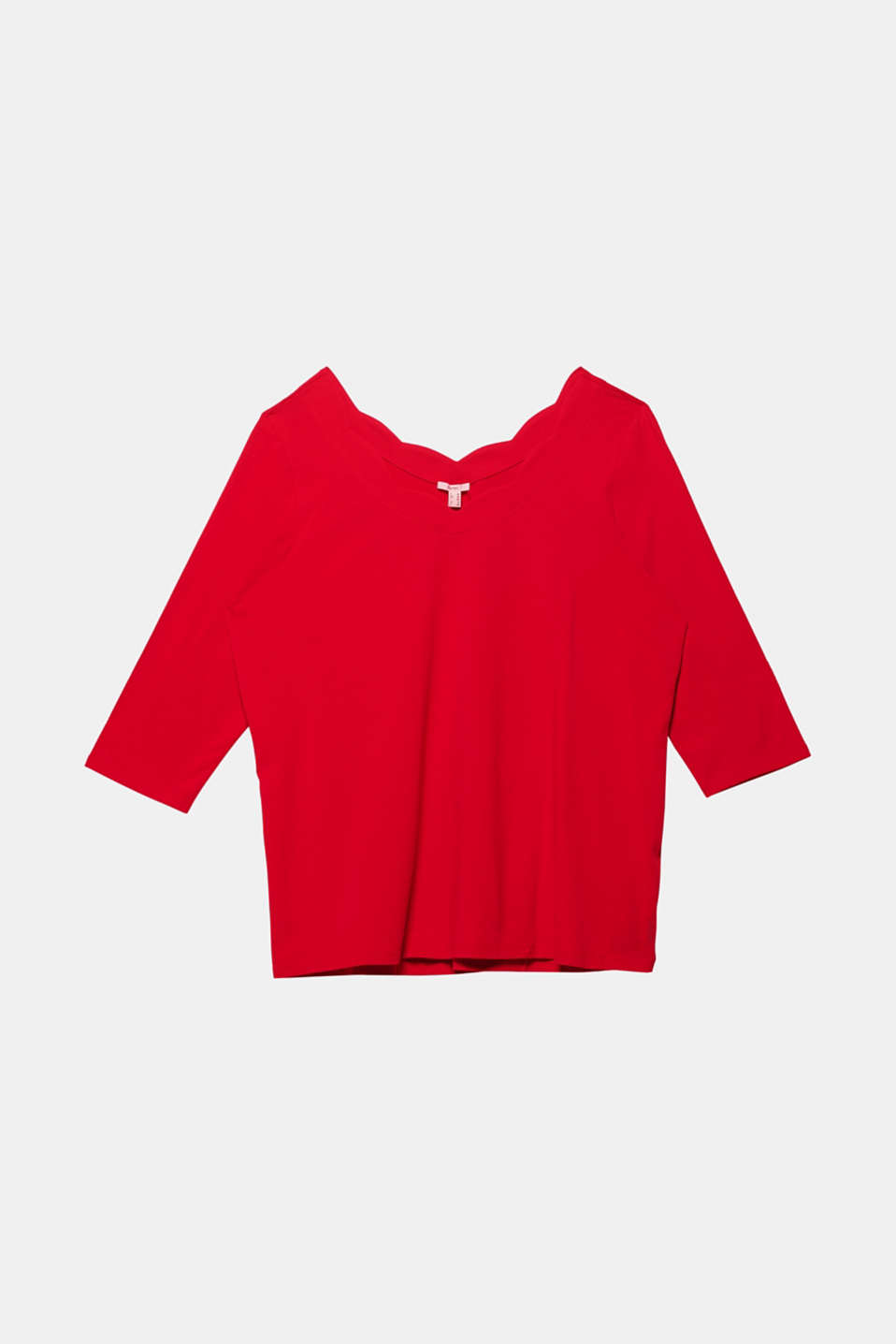 CURVY top with wavy details, DARK RED, detail image number 5
