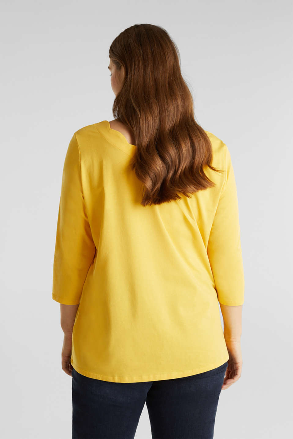 CURVY top with wavy details, YELLOW 3, detail image number 3