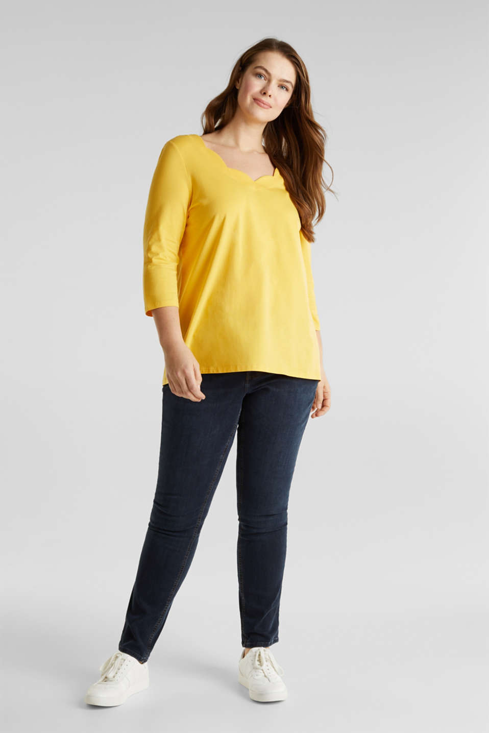 CURVY top with wavy details, YELLOW 3, detail image number 1