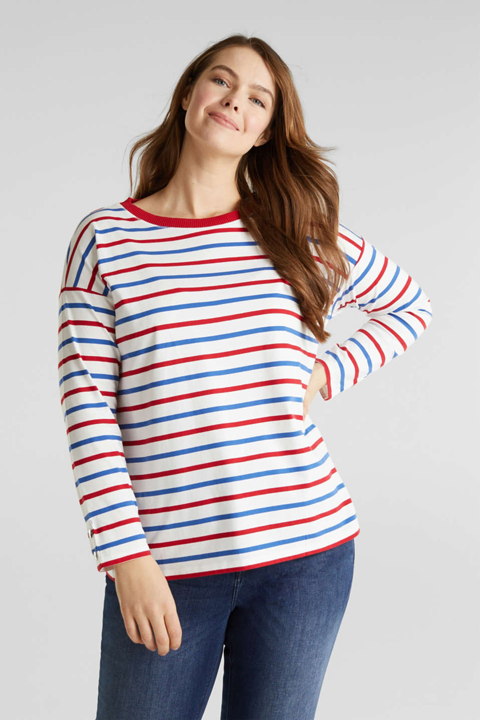 Esprit - CURVY striped long sleeve top, 100% organic cotton