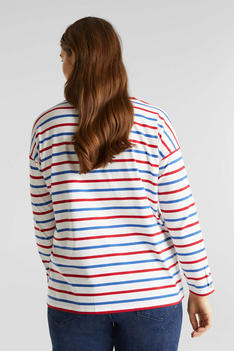 CURVY striped long sleeve top, 100% organic cotton, OFF WHITE, detail image number 3