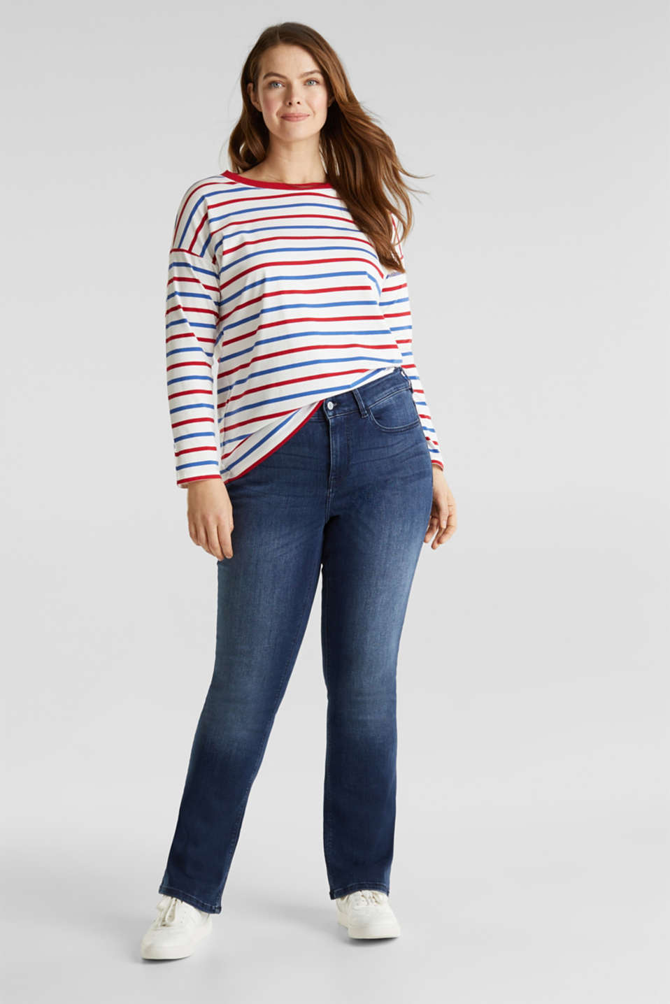 CURVY striped long sleeve top, 100% organic cotton, OFF WHITE, detail image number 5