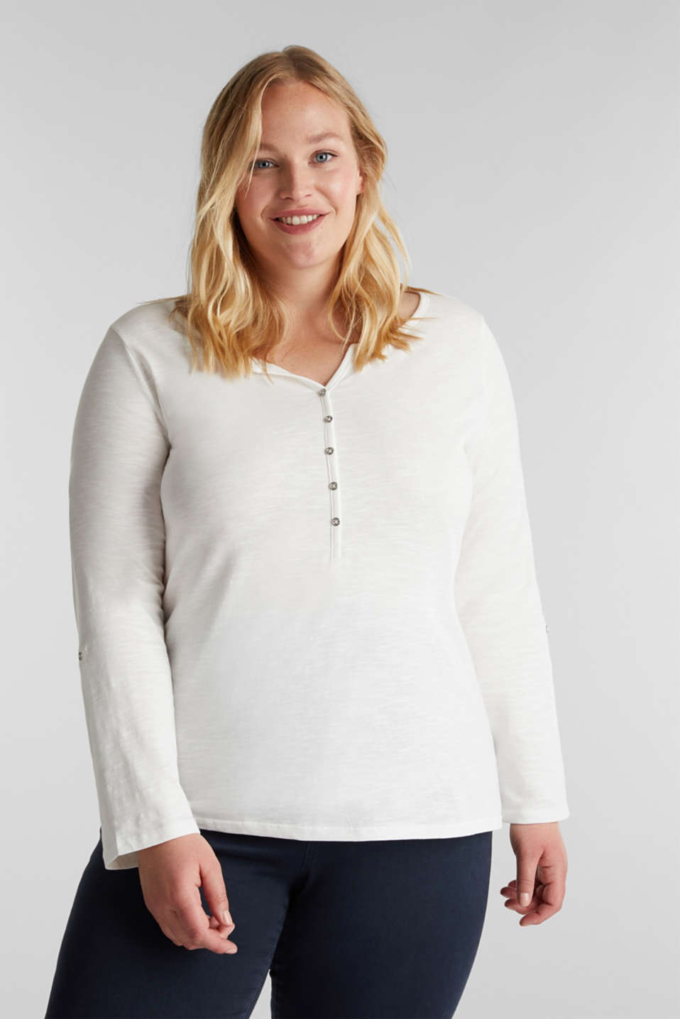 CURVY Henley long sleeve top, 100% organic cotton, OFF WHITE, detail image number 0