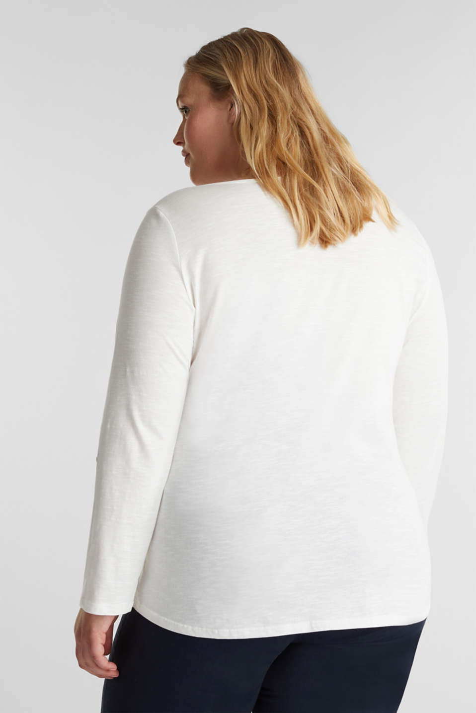CURVY Henley long sleeve top, 100% organic cotton, OFF WHITE, detail image number 3