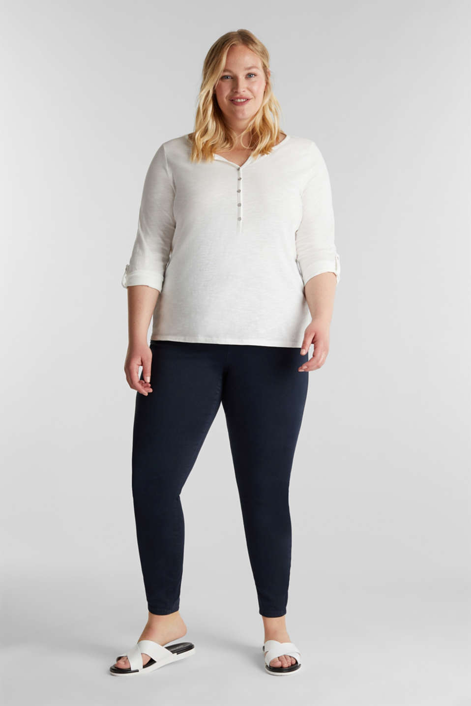 CURVY Henley long sleeve top, 100% organic cotton, OFF WHITE, detail image number 1