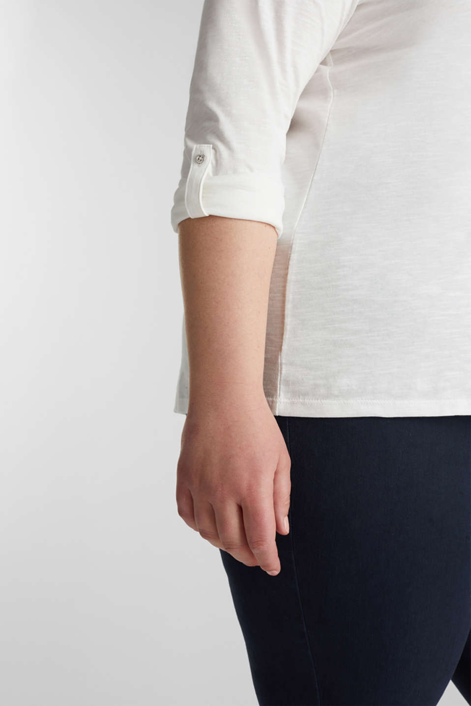 CURVY Henley long sleeve top, 100% organic cotton, OFF WHITE, detail image number 2