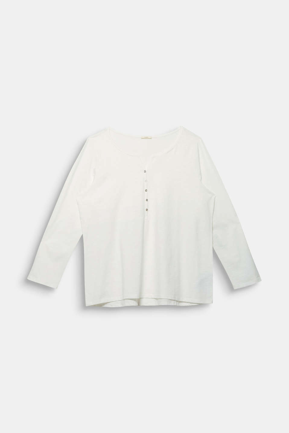 CURVY Henley long sleeve top, 100% organic cotton, OFF WHITE, detail image number 6