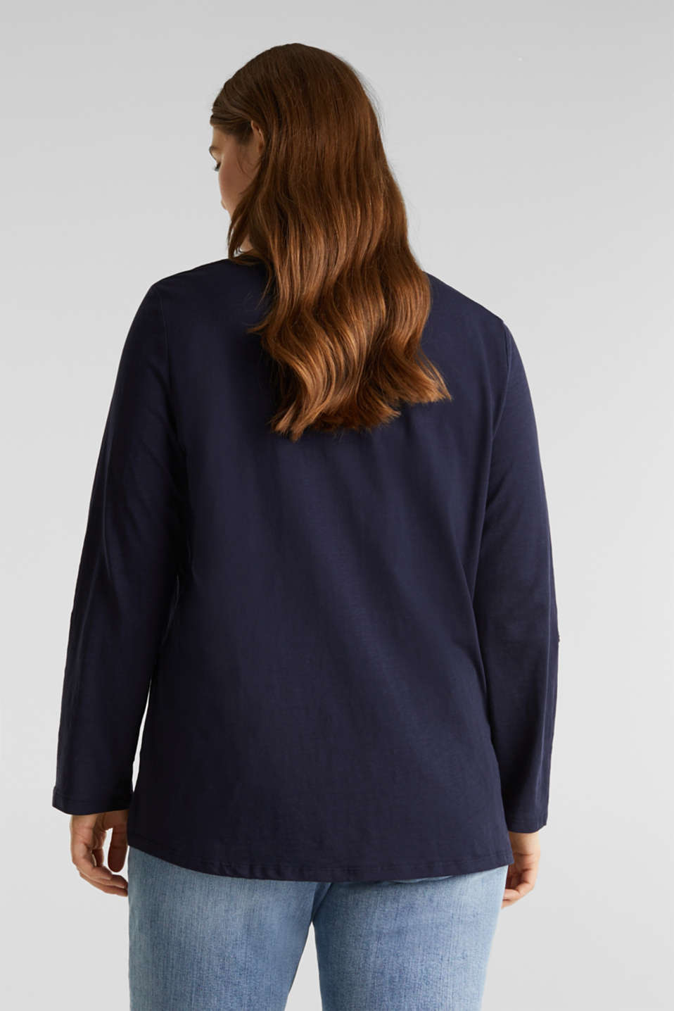 CURVY long sleeve top, organic cotton, NAVY, detail image number 3