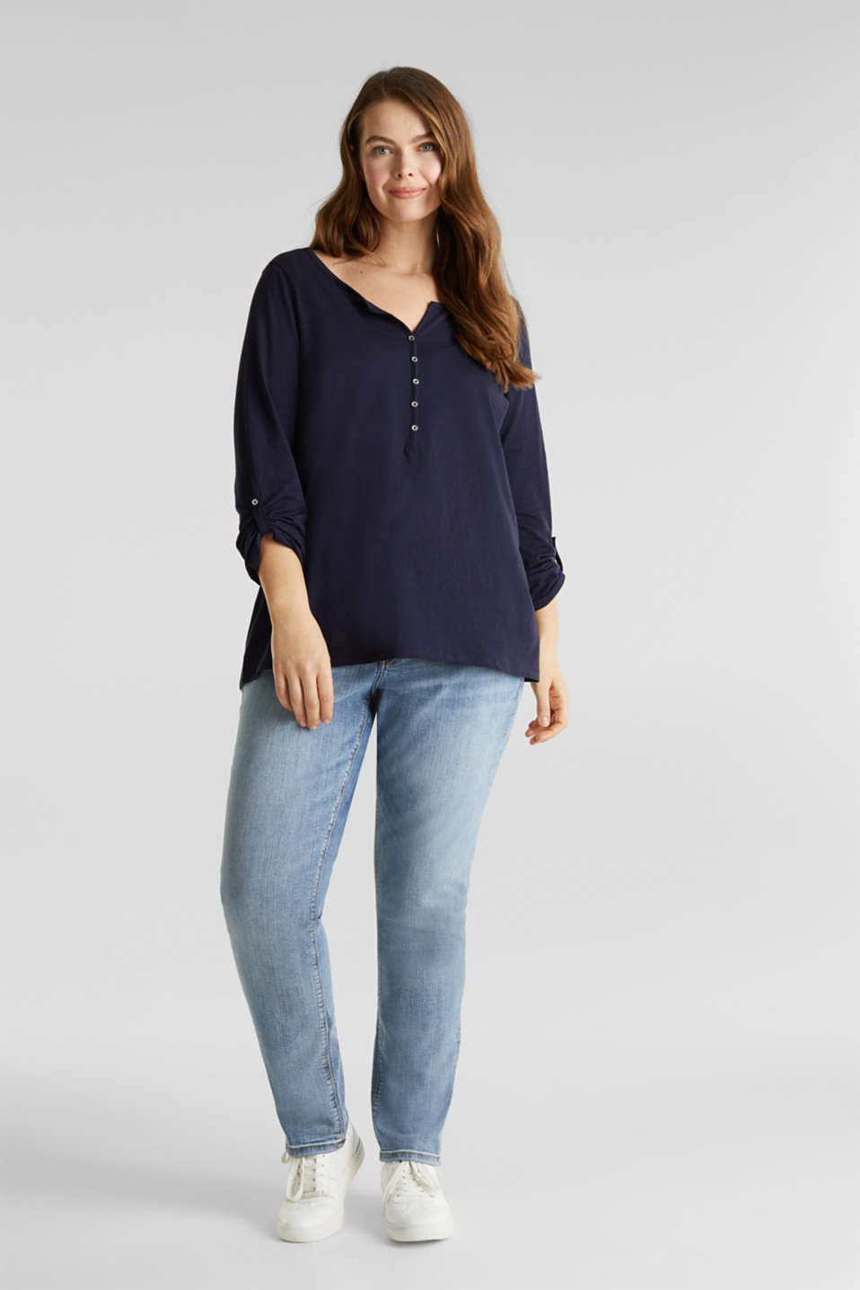 CURVY long sleeve top, organic cotton, NAVY, detail image number 1