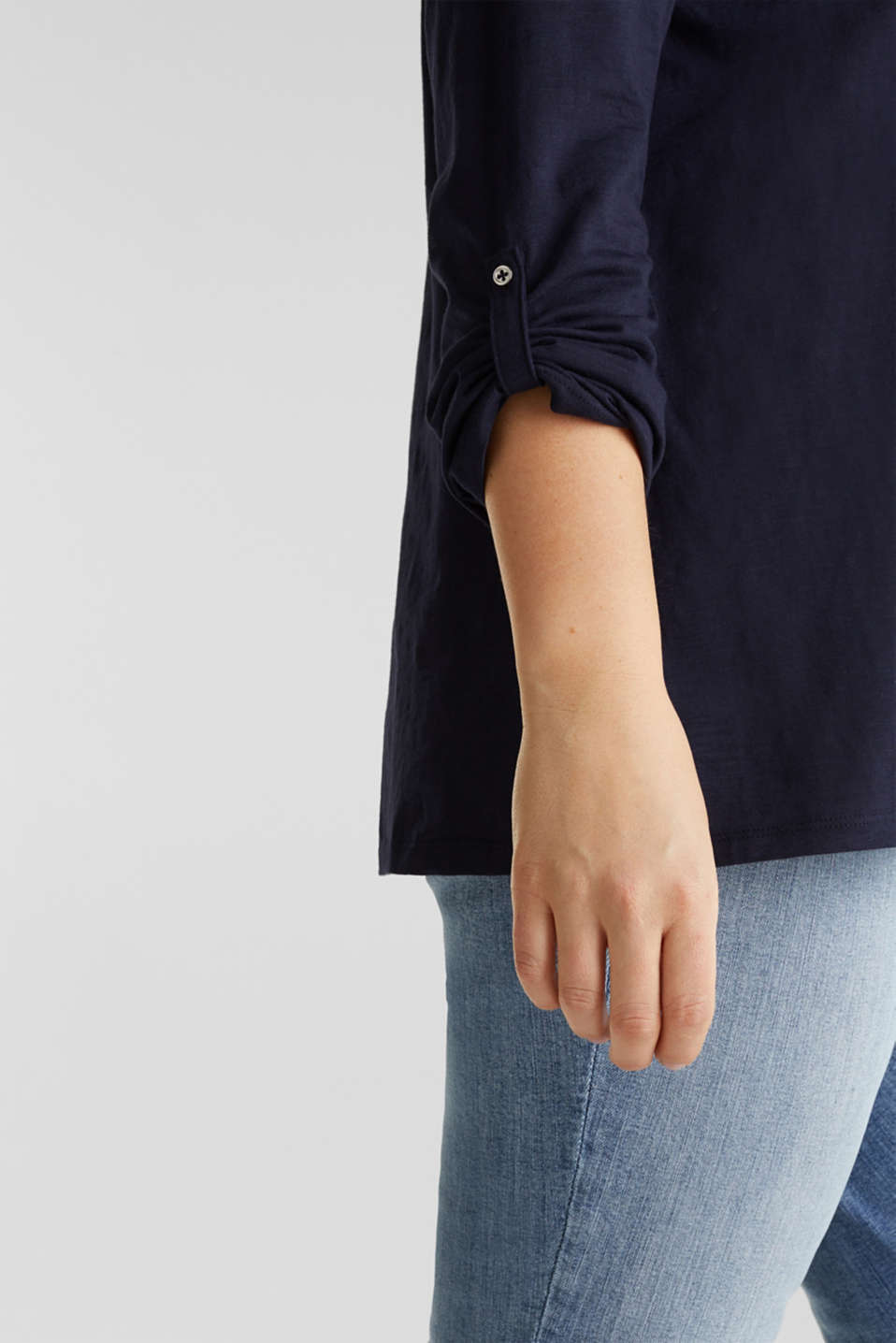 CURVY long sleeve top, organic cotton, NAVY, detail image number 2