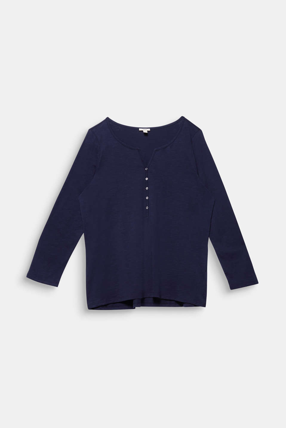 CURVY long sleeve top, organic cotton, NAVY, detail image number 5