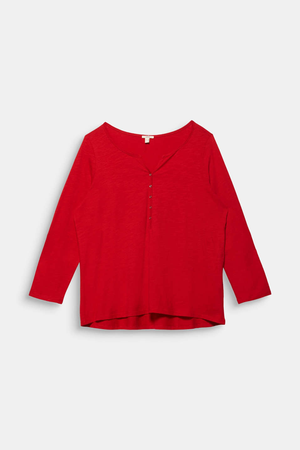 CURVY long sleeve top, organic cotton, DARK RED, detail image number 6