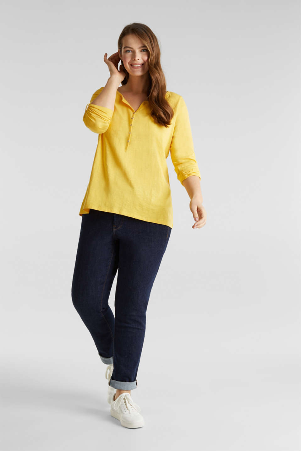 CURVY long sleeve top, organic cotton, YELLOW 3, detail image number 0