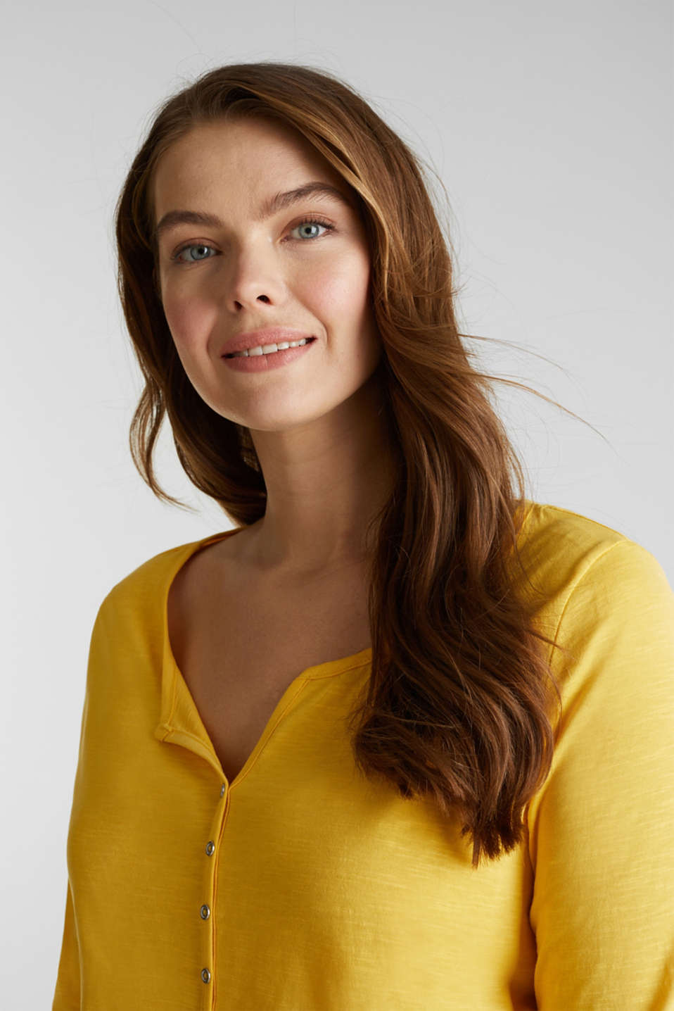 CURVY long sleeve top, organic cotton, YELLOW 3, detail image number 5