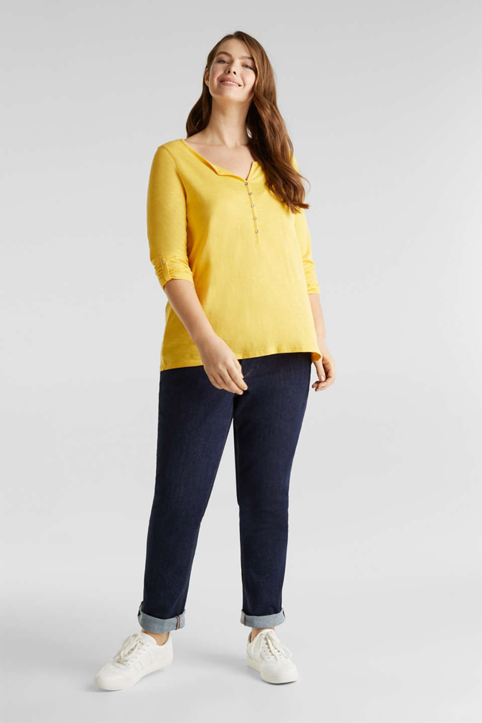 CURVY long sleeve top, organic cotton, YELLOW 3, detail image number 1