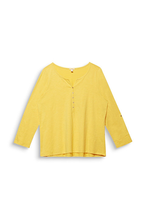 CURVY Henley long sleeve top, 100% organic cotton