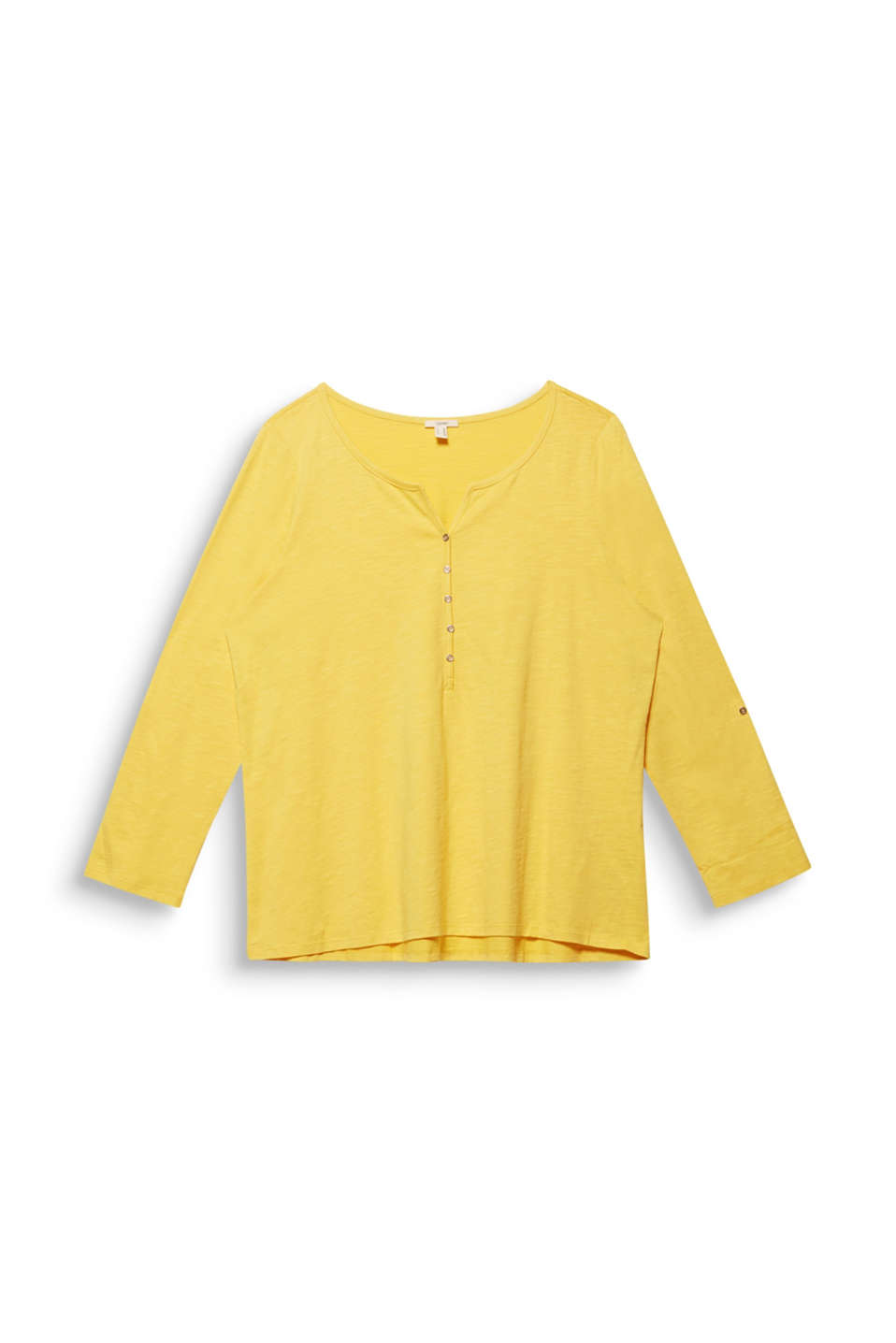 CURVY long sleeve top, organic cotton, YELLOW 3, detail image number 7