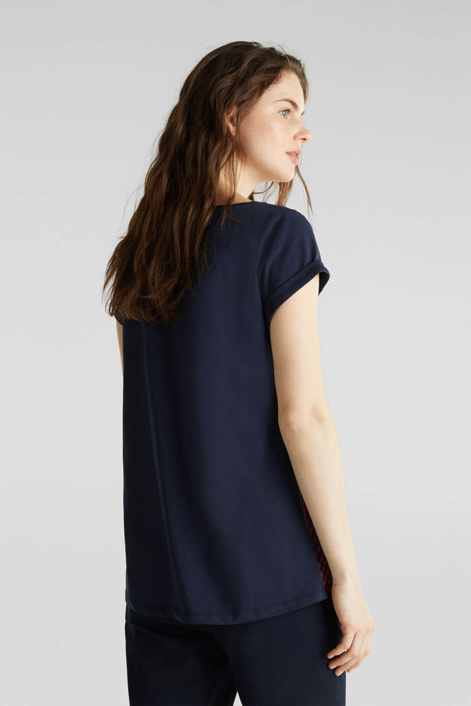 Mixed material blouse, NAVY 4, detail image number 2