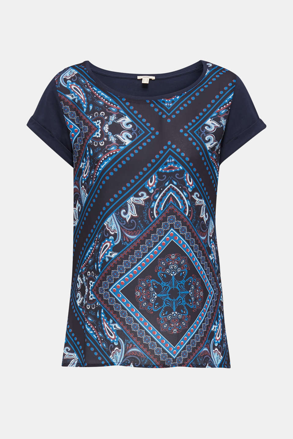 Mixed material blouse, NAVY 5, detail image number 6